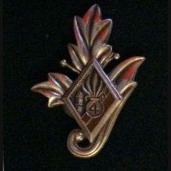 4° REI : insigne du commissariat du 4° régiment étranger d'infanterie couleur marron en bronze massif tirage dissolution