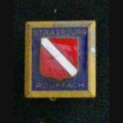ECOLE STRASBOURG ROUFFACH : insigne de l'école militaire de Strasbourg Rouffach en émail de fabrication Drago Rue Béranger dos mat
