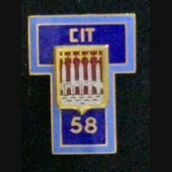 58° CIT : insigne du 58° centre d'instruction des transmissions en émail de fabrication Drago Paris attache à 2 boléros