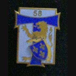 58° RT : insigne du 58° régiment des transmissions de fabrication Arthus Bertrand G. 1914 en émail