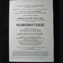 0. CATALOGUE NUMISMATIQUE : catalogue de vente de pièces et de décorations du monde entier juin 1996 (C83)