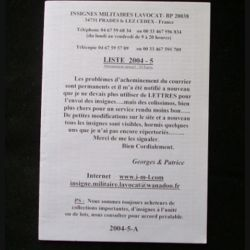 0. Liste 2004 - 05 d'insignes militaires illustrés en couleur réalisé par la SARL IML insignes militaires Lavocat : catalogue de 226 insignes couleurs côtés