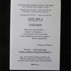 0. Liste 2004 - 04 d'insignes militaires illustrés en couleur réalisé par la SARL IML insignes militaires Lavocat : catalogue de 354 insignes couleurs côtés