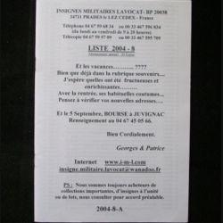 0. Liste 2004 - 08 d'insignes militaires illustrés en couleur réalisé par la SARL IML insignes militaires Lavocat : catalogue de 374 insignes couleurs côtés