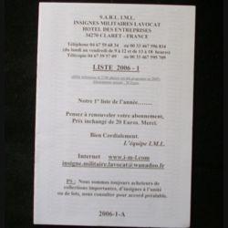 0. Liste 2006 - 01 d'insignes militaires illustrés en couleur réalisé par la SARL IML insignes militaires Lavocat : catalogue de 251 insignes couleurs côtés