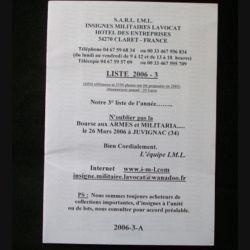 0. Liste 2006 - 03 d'insignes militaires illustrés en couleur réalisé par la SARL IML insignes militaires Lavocat : catalogue de 230 insignes couleurs côtés