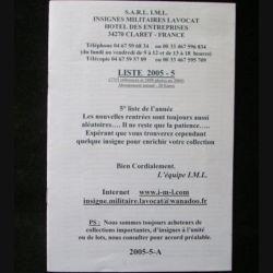 0. Liste 2005 - 05 d'insignes militaires illustrés en couleur réalisé par la SARL IML insignes militaires Lavocat : catalogue de 266 insignes couleurs côtés