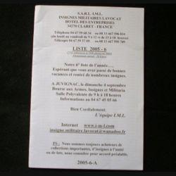 0. Liste 2005 - 06 d'insignes militaires illustrés en couleur réalisé par la SARL IML insignes militaires Lavocat : catalogue de 251 insignes couleurs côtés