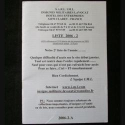 0. Liste 2006 - 02 d'insignes militaires illustrés en couleur réalisé par la SARL IML insignes militaires Lavocat : catalogue de 227 insignes couleurs côtés