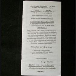 0. Liste 2000 - 10 d'insignes militaires illustrés en couleur réalisé par la SARL IML insignes militaires Lavocat : catalogue de 283 insignes couleurs côtés