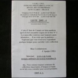 0. Liste 2005 - 04 d'insignes militaires illustrés en couleur réalisé par la SARL IML insignes militaires Lavocat : catalogue de 244 insignes couleurs côtés