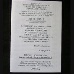 0. Liste 2005 - 02 d'insignes militaires illustrés en couleur réalisé par la SARL IML insignes militaires Lavocat : catalogue de 214 insignes couleurs côtés