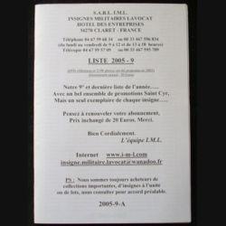 0. Liste 2005 - 09 d'insignes militaires illustrés en couleur réalisé par la SARL IML insignes militaires Lavocat : catalogue de 228 insignes couleurs côtés