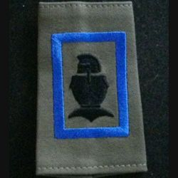 FOURREAU COMBAT : insigne tissu de fourreau de combat de la 1° compagnie de combat bleu du 5° régiment du génie cuirasse sans chiffre