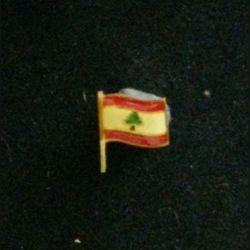 PIN'S DRAPEAU LIBANAIS : insigne du drapeau libanais sous forme de pin's de largeur 1,5 cm vernis
