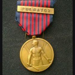 """BELGIQUE : médaille des volontaires belges avec la barrette """"pugnator"""" en bronze"""