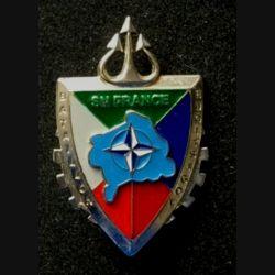 TRAIN : insigne du bataillon logistique opération Trident, Kosovo Force (KFOR) SN France de fabrication Delsart