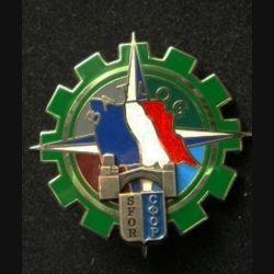 TRAIN : insigne du bataillon logistique (BATLOG) de la division multinationale Sud-Est (DMNSE) à Mostar, opération SFOR, de fabrication Pichard Balme G. 4666