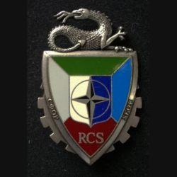 TRAIN : insigne du régiment de commandement et de soutien (RCS), de la division multinationale Sud-Est (DMNSE) de fabrication Delsart G. 4365