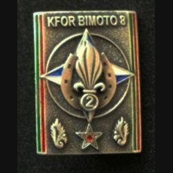 2° REI : insigne du groupe de commissariat au Kosovo du 2° régiment étranger d'infanterie, Kosovo Force (KFOR), Bimoto 8, de fabrication Sheli