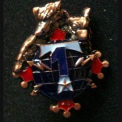 48° RT : insigne de la 1° compagnie du 48° régiment de transmissions de fabrication IMC, 1 bleu foncé