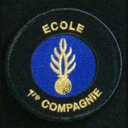 GENDARMERIE 1°CIE ECOLE : insigne tissé de la première compagnie d'instruction des élèves gendarmes (grenade dorée) de la gendarmerie nationale modèle agréé DGGN