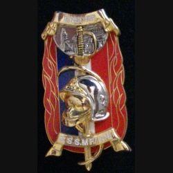 """PROMOTION POMPIERS : insigne de la promotion de l'école nationale supérieure des officiers de sapeurs pompiers ENSOSP """"S.S.S.M F.1 N°8"""" de fabrication Boussemart 2011"""