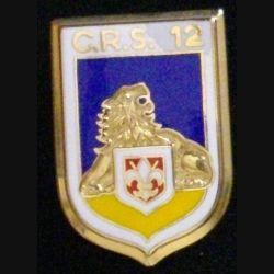 POLICE CRS 12 : insigne de la compagnie républicaine de sécurité CRS 12 de fabrication JMM