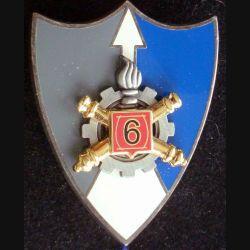 6° RMAT : insigne métallique du 6° régiment du matériel fabriqué par Arthus Bertrand pour les éditions Atlas