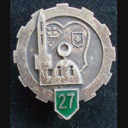 27°ET : insigne métallique du 27° escadron du train en émail gros boléro