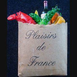 Magnet frigo plaisir de France représentant un sac rempli de provisions françaises