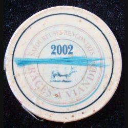 Magnet frigo représentant un tampon des savoureuses rencontres de races à viandes 2002