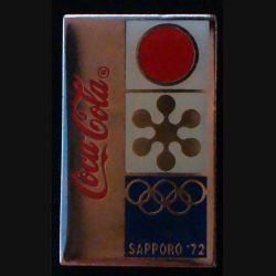 Pin's Coca Cola : pin's publicitaire de Coca Cola des jeux d'hiver olympiques de Sapporo 1972 au Japon de fabrication Premier Taiwan