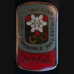 Pin's Coca Cola : pin's publicitaire de Coca Cola des jeux olympiques d'hiver de Grenoble en 1968