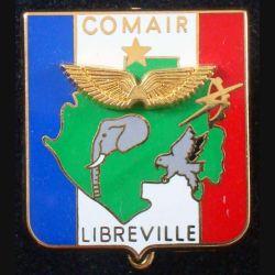 COMAIR LIBREVILLE : insigne métallique du commandement de l'armée de l'air à Libreville de fabrication Promodis