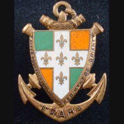 11° RAMA : Insigne métallique du 11° régiment d'artillerie de marine de fabrication Drago G. 820 en émail