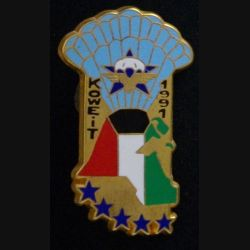 1° RCP : 1° RCP : insigne métallique des commandos de recherche d'action en profondeur CRAP du 1° régiment de chasseurs parachutistes opération Daguet Koweit 1991 de fabrication Ballard