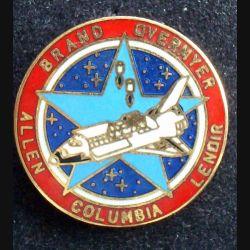 PIN'S NASA : Brand Overmyer Allen Columbia Lenoir de fabrication Taiwan et de diamètre 2,5 cm