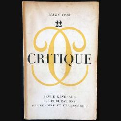 1. Critique n°22 Revue générale des publications françaises et étrangères Mars 1948