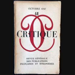 1. Critique n°41 Revue générale des publications françaises et étrangères Octobre 1950