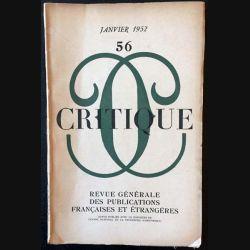 1. Critique n°56 Revue générale des publications françaises et étrangères Janvier 1952
