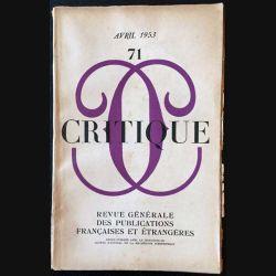 1. Critique n°71 Revue générale des publications françaises et étrangères Avril 1953