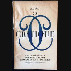 1. Critique n°72 Revue générale des publications françaises et étrangères Mai 1953 (C43)
