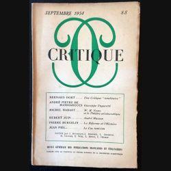1. Critique n°88 Revue générale des publications françaises et étrangères Septembre 1954