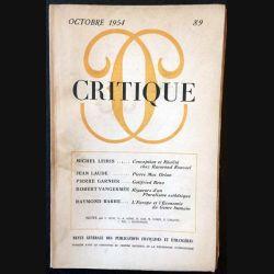 1. Critique n°89 Revue générale des publications françaises et étrangères Octobre 1954