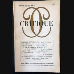 1. Critique n°90 Revue générale des publications françaises et étrangères Novembre 1954