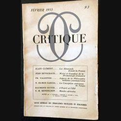 1. Critique n°93 Revue générale des publications françaises et étrangères Février 1954