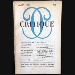 1. Critique n°106 Revue générale des publications françaises et étrangères Mars 1956 aux éditions de Minuit