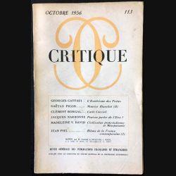 1. Critique n°113 Revue générale des publications françaises et étrangères Octobre 1956 aux éditions de Minuit