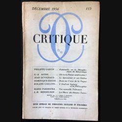 1. Critique n°115 Revue générale des publications françaises et étrangères Décembre 1956 aux éditions de Minuit